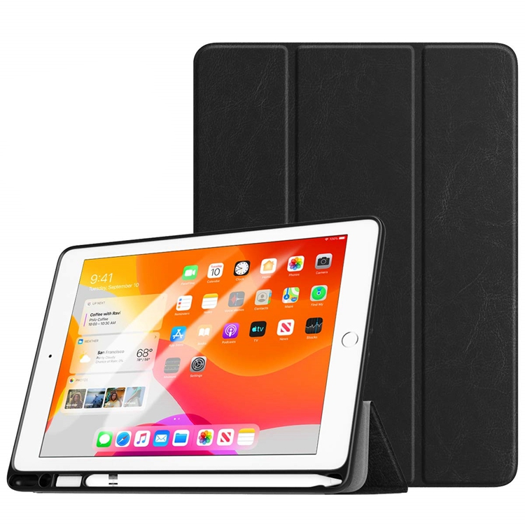 Case for New <strong>iPad</strong> 7th Generation 10.2&quot; 2019 with Apple Pencil Holder, Slim Back Protective Case with Auto Wake/Sleep