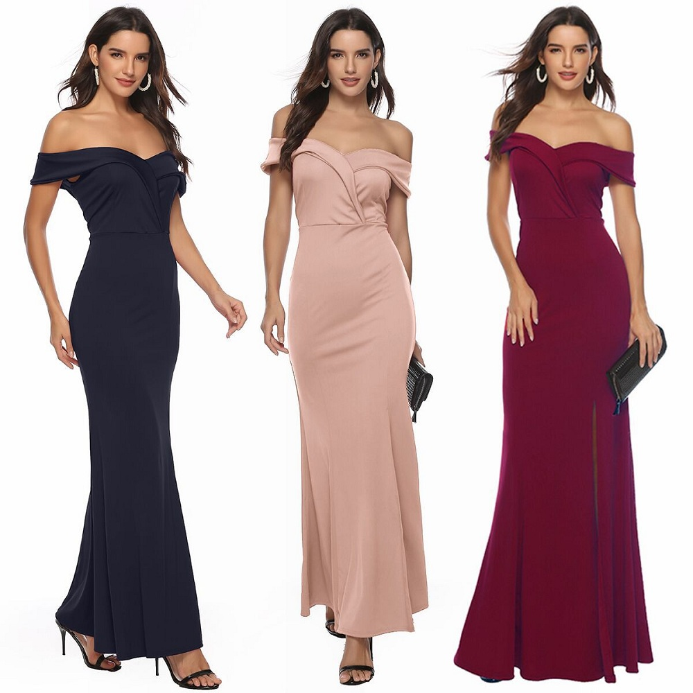 2020 Sexy Women Wedding Burgundy Dresses Ladies Off Shoulder Bridal Bridesmaid Party Wear Gown Long Evening Dress