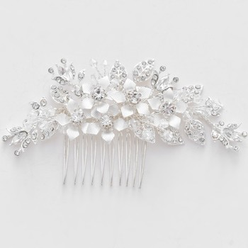 Handmade Silver Leaf Floral Wedding Headpiece Hair Accessories Crystal Bridal Decorative Hair Combs