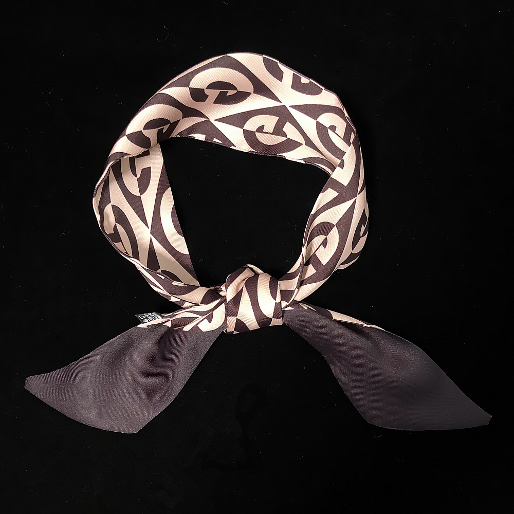Fashion faux silk cravat horseshoe chain flowers tie bag handle small ribbon scarf women decorative