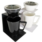 Ceramic Mug with Wood Handle White or Black Color Coffee Dripper Set with Double Wall Mesh Filter