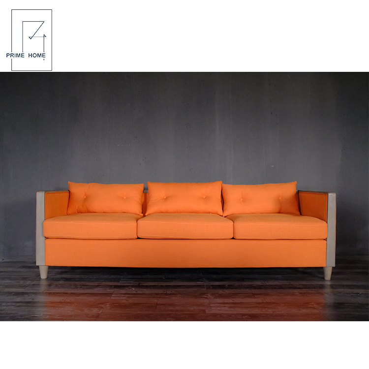 Hampton Style Cheap Sofa Bed, Custom Orange Living Room Fabric Sofa