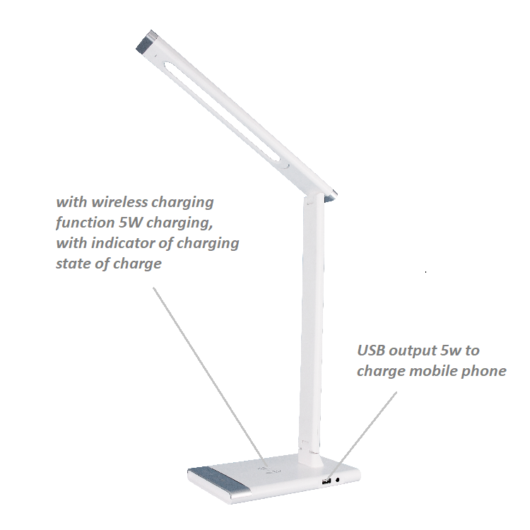 Energy saving color changing touch sensor ABS office room bed side wireless charging led table lamp with usb charging port