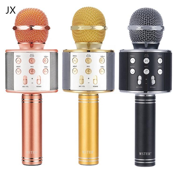 Ws858 Harga Pabrik Nirkabel Bluetooth Mikrofon Karaoke dengan Rumah Pesta Karaoke Speaker Mesin Natal Hadiah Ulang Tahun