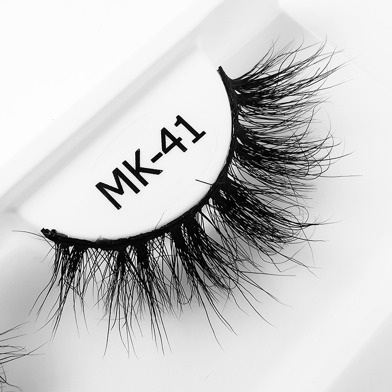 MK Multiple style sexy cat eye short natural cotton black  band 3d mink full strip eye lashes with rose gold round case