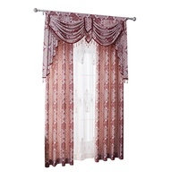 2019 Home luxury ready made beaded crystal jacquard hotel office window curtains with valance designs