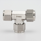 SS316 Stainless Steel Double Ferrule Union Equal Tee Tube Fittings