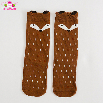 3 Sizes Cute Cartoon Fox Kids Baby Socks Baby Toddler Animal Pattern Soft Infant Baby Cotton Knee High Socks