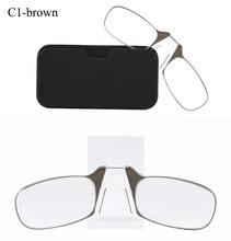 Мини зажим для носа портативный SOS очки для чтения с Чехол подставка для телефона тонкая оптика стильные пресбиопические очки + 1,00 + 1,50 + 2,00 + 2,...(China)
