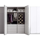Wardrobe Cabinet Sectional Lacquered Wardrobe with Folding Doors Modern Wooden Hinged Wardrobe Cabinet