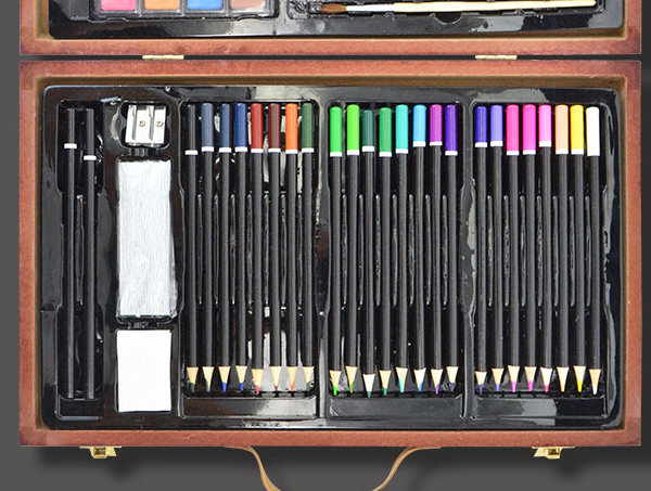 Popular Universal Deluxe DIY desenho & Arte Da Pintura Conjunto com caixa de madeira crianças brinquedos