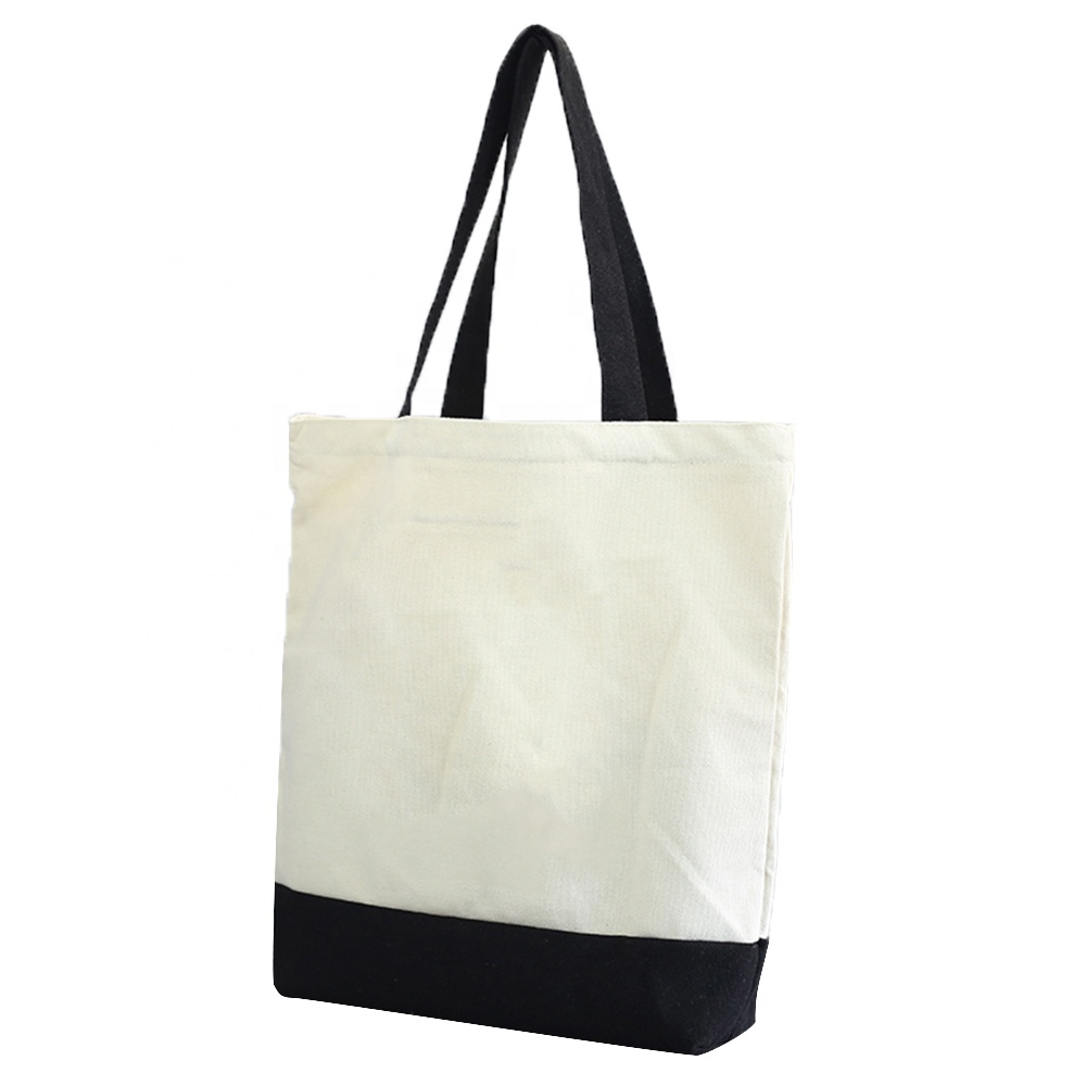 Black handle canvas bag custom print promotional 100% 면 canvas tote bag 도매