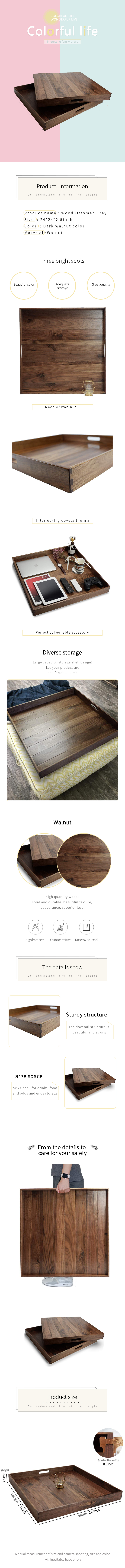 24 x 24 Inches Extra Large Square Black Walnut Wood Ottoman Tray with Handles