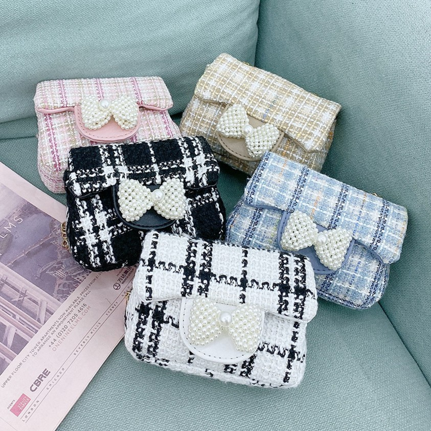 Fashion Kids Cross body Handbags Toddler Girl Cute Pear Bowtie Plaid  Bag Children Girl Fashion Shoulder Messenger Purse