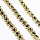 Wholesale flower design gold chain rhinestone and black acrylic chain trim for wedding dress