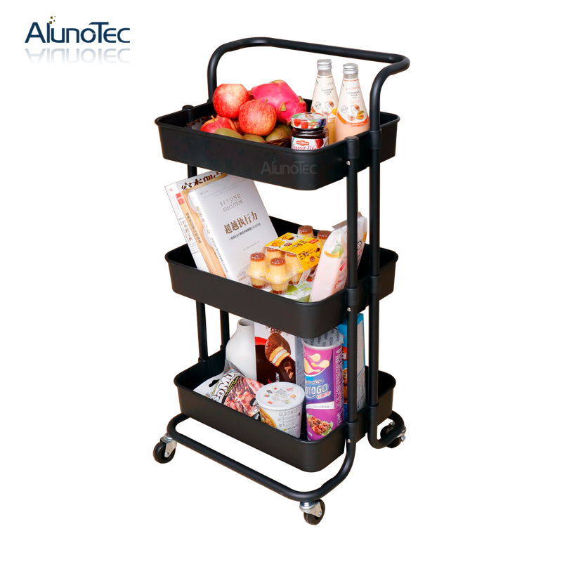 Movable <strong>Carbon</strong> <strong>Steel</strong> Kitchen &amp; Home Organizer 3 Tiers Serving Rolling Storage Cart Trolley Rack
