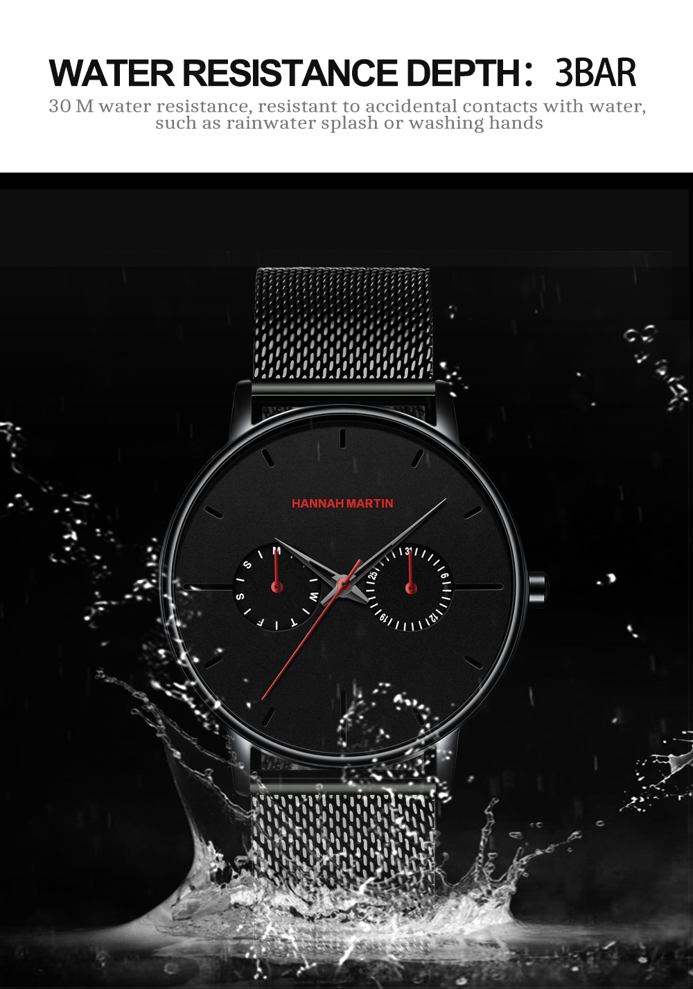 2019 New Design High Quality Hannah Martin Business Japan Quartz Movement Luxury Fashion Waterproof Mesh Band Wrist Mens watch