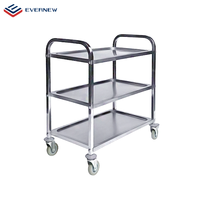 Load Capacity 450 lbs Knock- Down Stainless Steel 3 Tier Service Trolley Storage Cart Utility for Restaurant Kitchen Stroller
