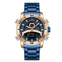 NAVIFORCE мужские часы, Топ люксовый бренд синий большой спортивные часы мужские s хронограф кварцевые наручные часы из нержавеющей стали мужск...(Китай)