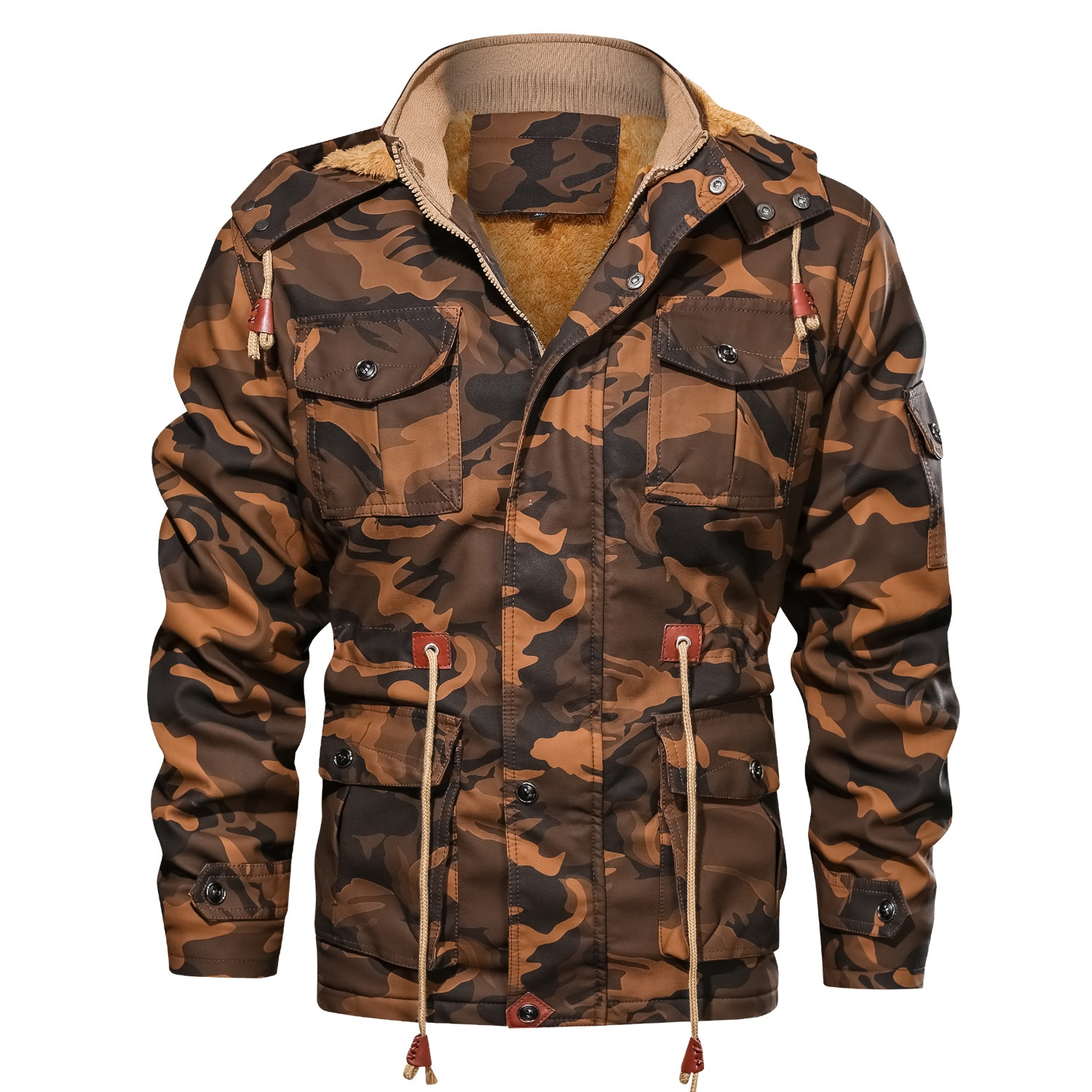 Men's <strong>military</strong> <strong>style</strong> camouflage multi-pocket mid-length <strong>jacket</strong> leather <strong>jacket</strong> thick winter clothing <strong>Jacket</strong> Down For Winters