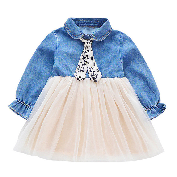 <strong>Fashion</strong> <strong>Girls</strong> Dresses long sleeve Denim <strong>Kids</strong> Dress Casual Children Clothing Princess Dress