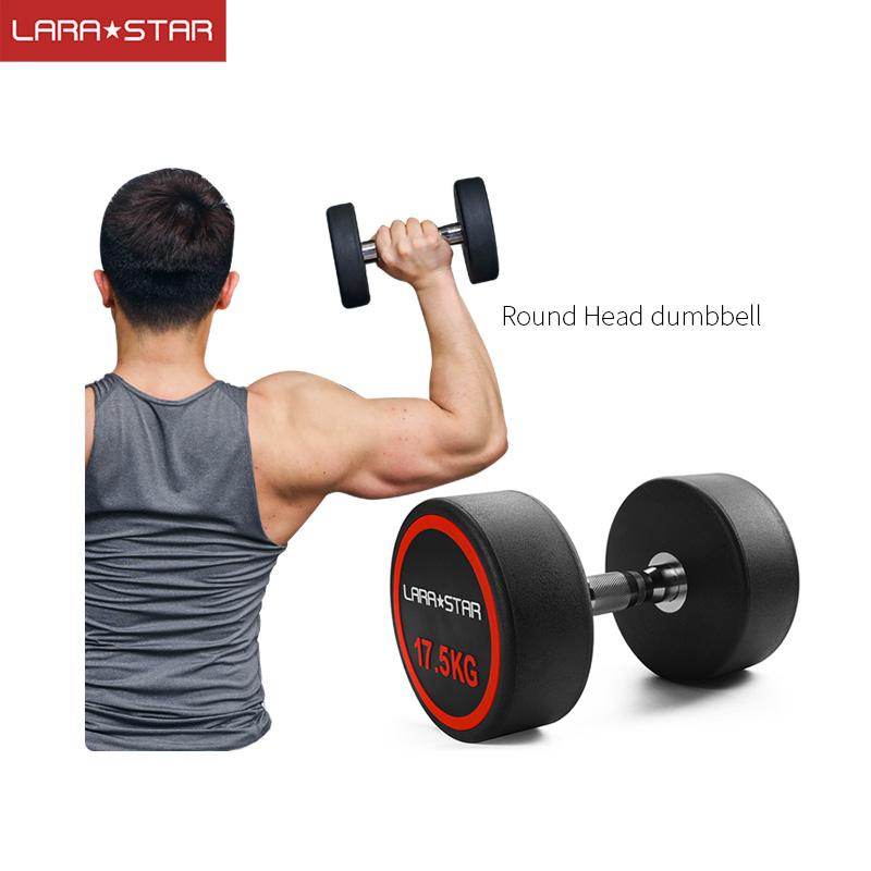 Haltère fitness en caoutchouc de ménage-enduit haltère rond homme commerciale équipement de conditionnement physique de bras d'exercice haltère fixe