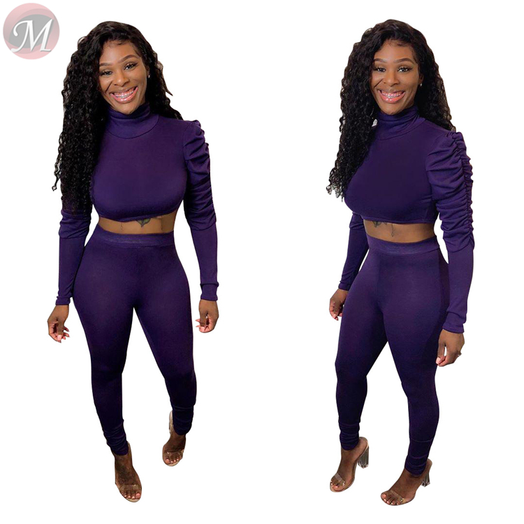 9122728 fashion new solid color long sleeve sportswear women tracksuit midriff outfit 2 Piece Set Women Clothing Sexy