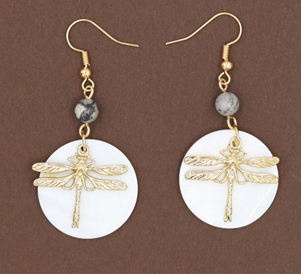 Fashion Jewelry Best Selling Simple Style Women'S Round Shell Gold Dragonfly Earring