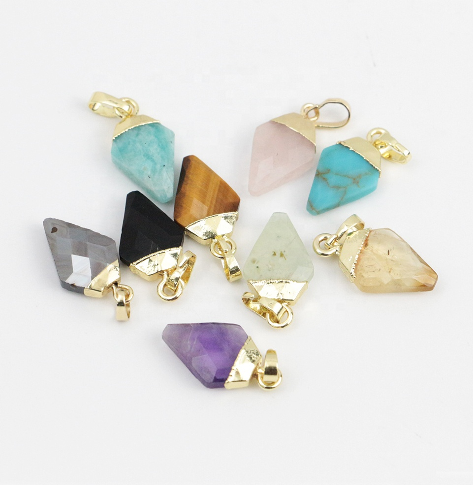 LS-A314 gorgeous faceted gemstone <strong>pendant</strong> <strong>natural</strong> <strong>amethyst</strong> tiger eye citrine turquoise charm <strong>pendant</strong> for women new
