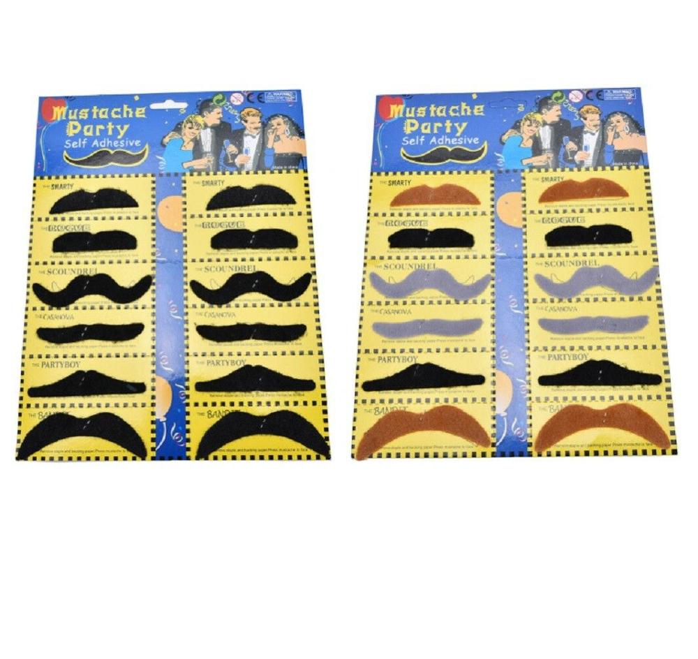 Di Vendita caldo Bastone Su Fancy Dress False Baffi Tash Moustache Stag Hen Party Pack Nero Baffi