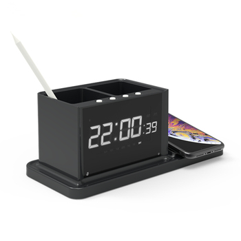 2019 new arrival dual usb charger Desktop organizer wireless charger with clock