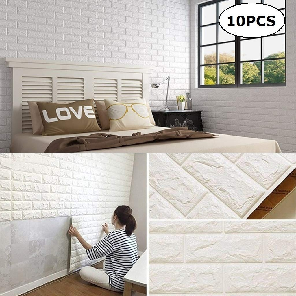 Pink white PE wall <strong>panels</strong> <strong>3d</strong> brick wallpaper <strong>3d</strong> foam wall stickers for home decoration
