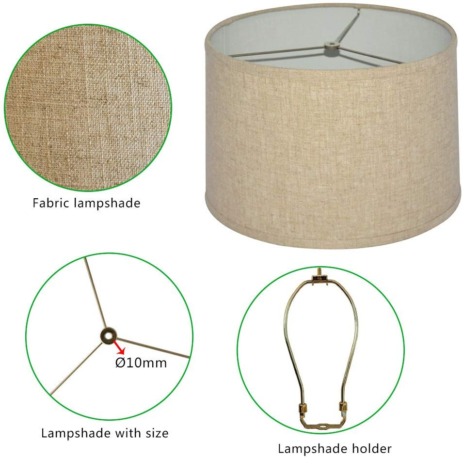 Modern round natural linen fabric lamp covers shade for table lamp