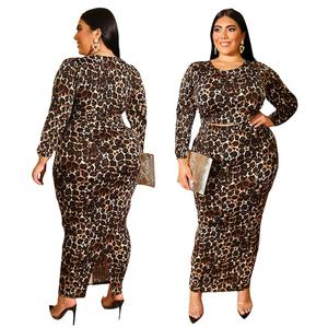 Plus size hollow out women leopard print bodycon midi dress sexy club long dresses