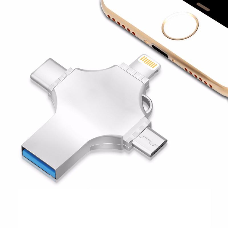 Cheap Customized Logo 4 in 1 Multi-function OTG Metal USB Flash Drive - USBSKY | USBSKY.NET