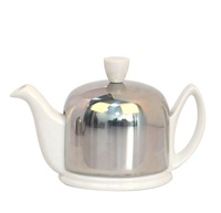 White Black Thermal insulation Porcelain ceramic teapot with cosy cover and stainless steel infuser
