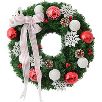 40/50/60cm cotton ball Christmas artificial farmhouse wreath for front door