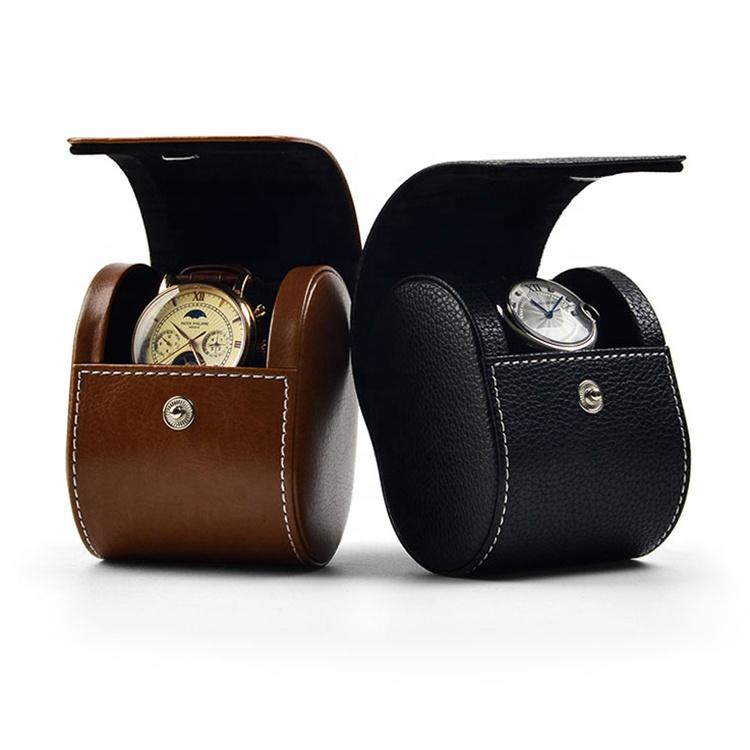 Custom Logo Printed Black PU Watch Travel Case Single Watch Roll For Sale