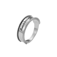 Yttria 925 Sterling Silver Delicate Fashion Smooth Letter Ring