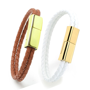 Leather His And Hers Bracelets Couple Bracelet Unisex Usb Charging Cable Bracelet For Men And Women
