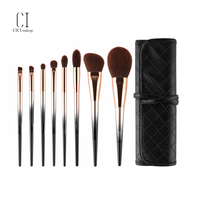 Wholesale Private Label Gray/black 8pcs makeup brush Synthetic Fiber With Bag Makeup Brush Set