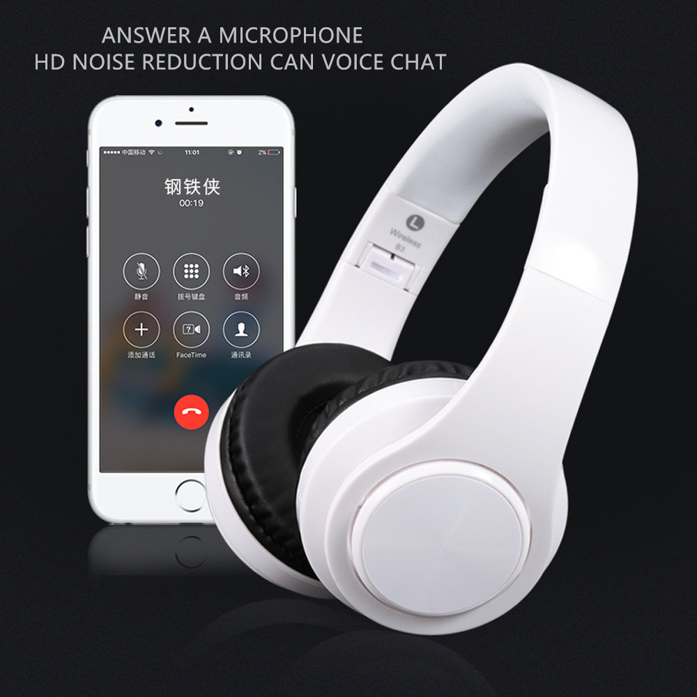 Bluetooth Headset B3 Wireless Headphone Hi-Fi Stereo Headset with Mic Comfortable Protein Earpads