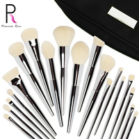 Hot sale high-end refined 19 private brand polished silver white premium makeup brush set dongguan leather product