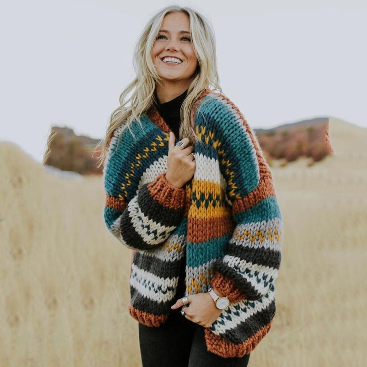 Women Open Front Knit Cardigan Sweaters Loose Outwear Coat