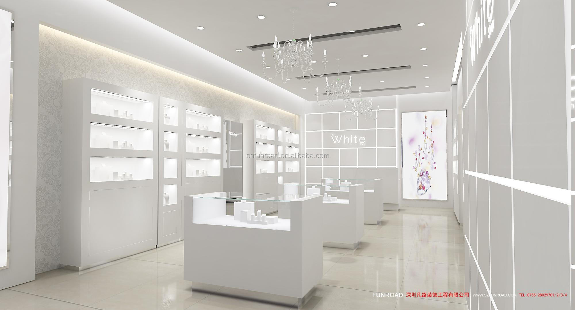 Luxury 3D design wooden jewelry display showcase / jewelry shop interior design with jewelry display stand