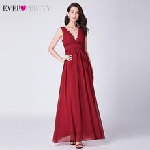 Элегантные красные вечерние платья Ever Pretty EP07351RD, недорогие шифоновые вечерние платья а-силуэта с рюшами и двойным v-образным вырезом, 2020(Китай)