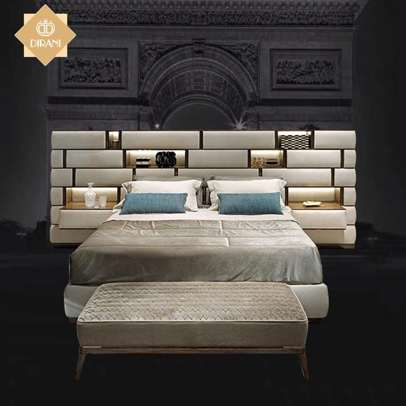 Furnitur Kamar Tidur Terbaru Tempat Tidur Ganda Desain Modern Mewah Super Kulit Bantal Kepala Tempat Tidur Tempat Tidur King