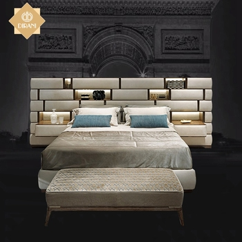bedroom furniture latest double bed designs modern luxury super leather cushion headboard king size bed