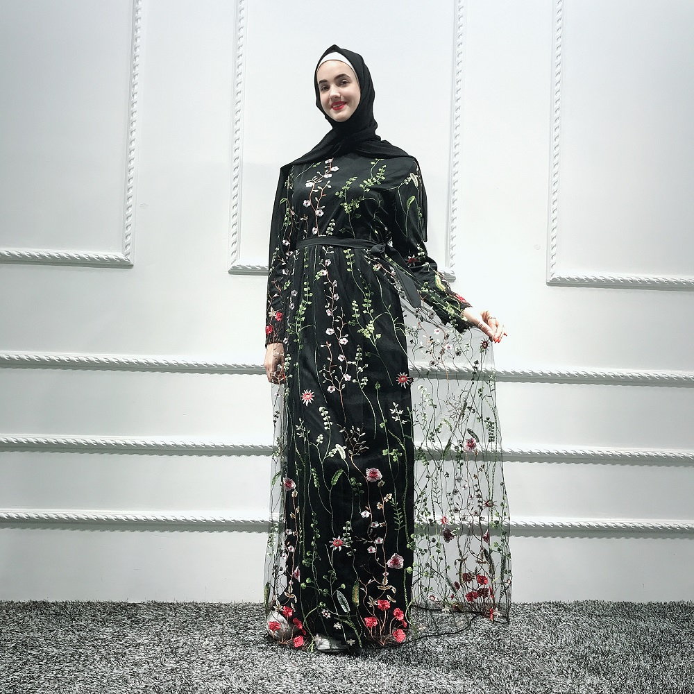 2019 New elegant modest fashion women's islamic turkey dress dubai lace floral embroidery abaya