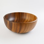 Beautiful Natural Wooden Kitchenware Soup Bowl Customized LOGO Eco Friendly Restaurant 10inch Acacia Salad Mixing Wood Bowl
